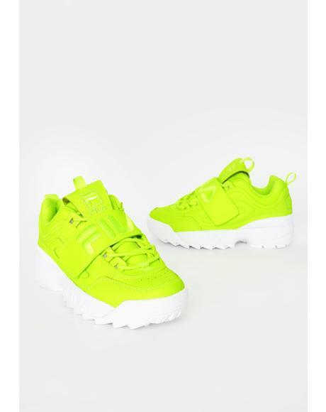 Green Disruptor II Applique Sneakers