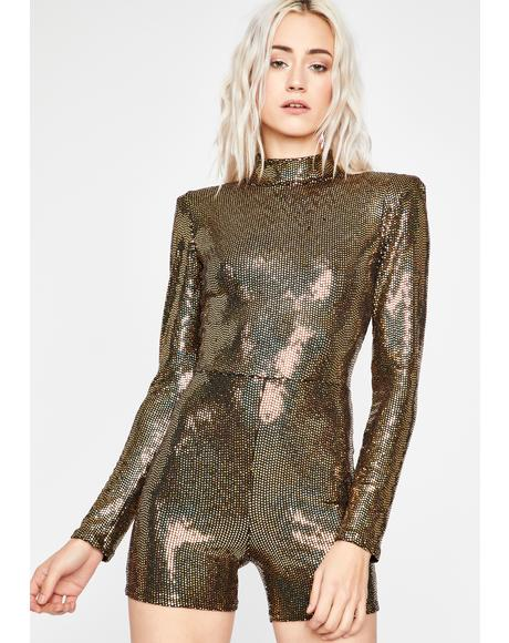 Golden Light Dancer Sequin Romper