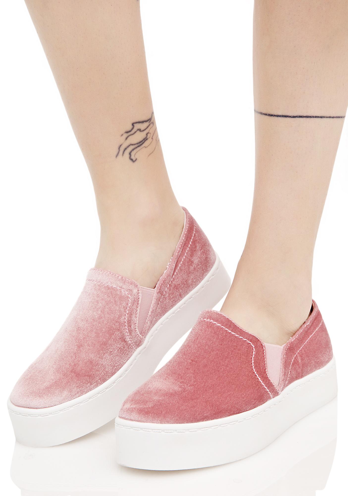 Blush Velvet Slip On Sneakers