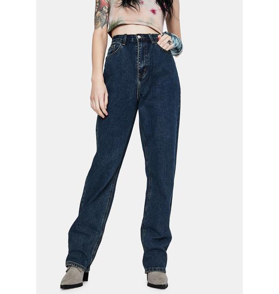 Momokrom Dark Wash Wide Leg Jeans