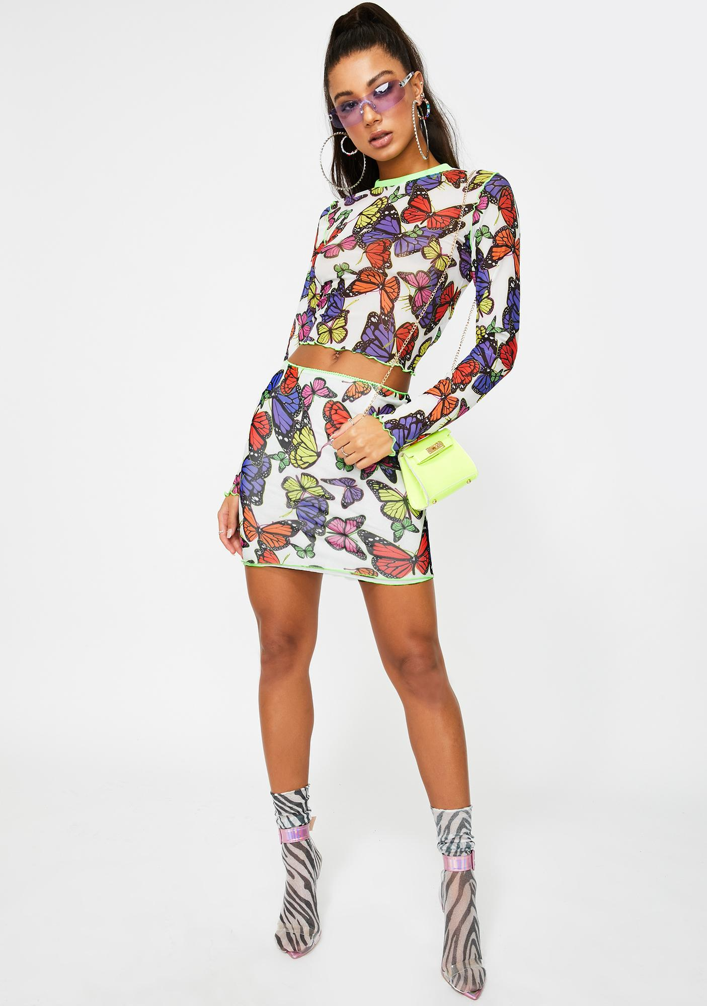 Jaded London White Butterfly Print Mesh Top