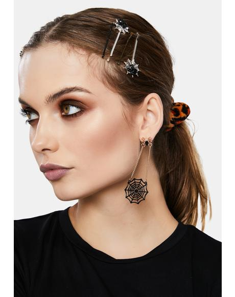Stuck on the Web Spider Drop Earrings