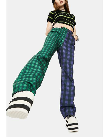 Green Hot Rod Mix Check Jeans
