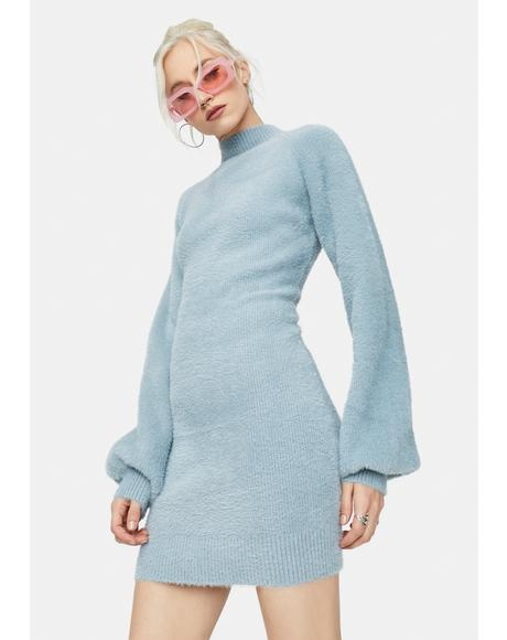 Dusty Blue Dreams Mock Neck Sweater Dress