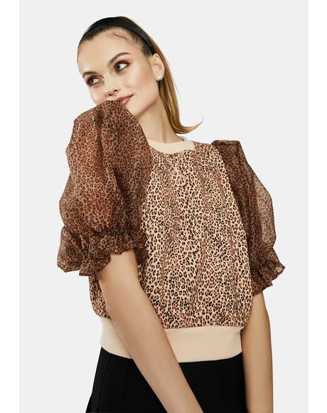 The Minnie Puff Sleeve Cheetah Sweater
