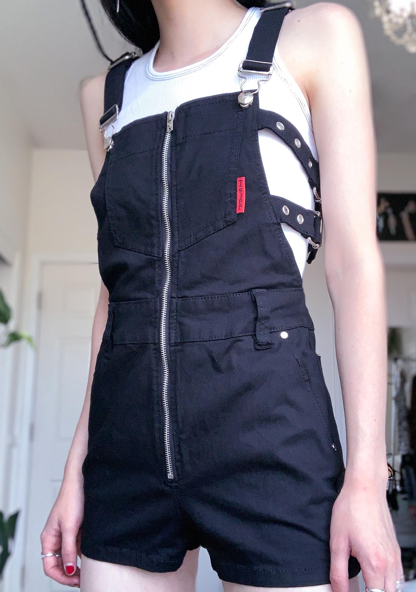 Tripp NYC Buckle Overall Shorts