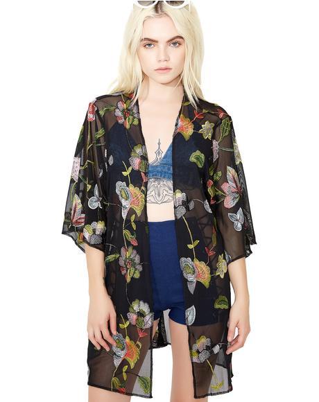 Gardenia Sheer Floral Kimono