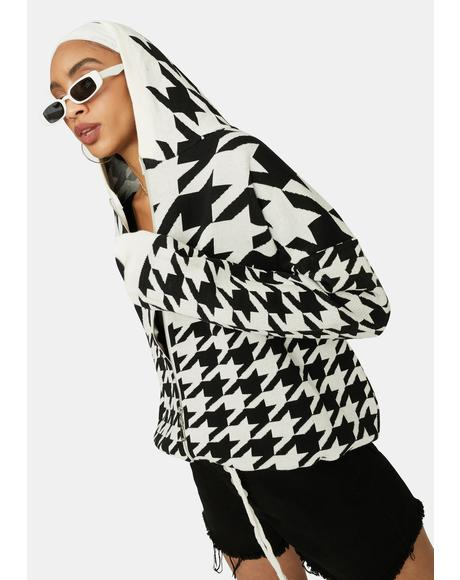 Bossy Vibes Houndstooth Zip Up Jacket