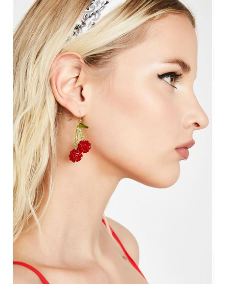 Candid Chic Cherry Earrings