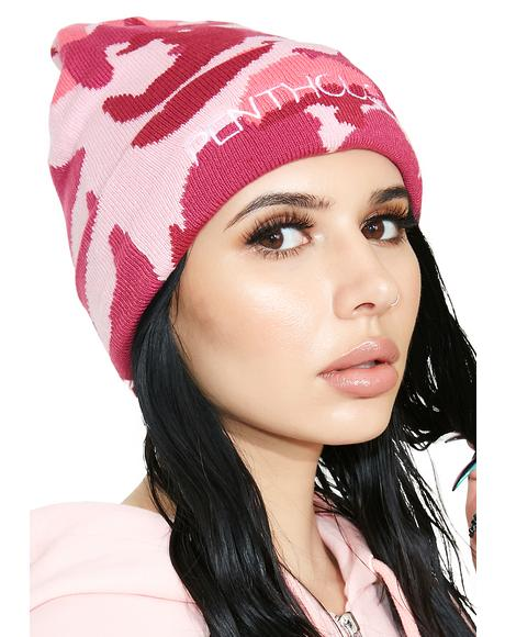 x Penthouse Pink Camo Beanie