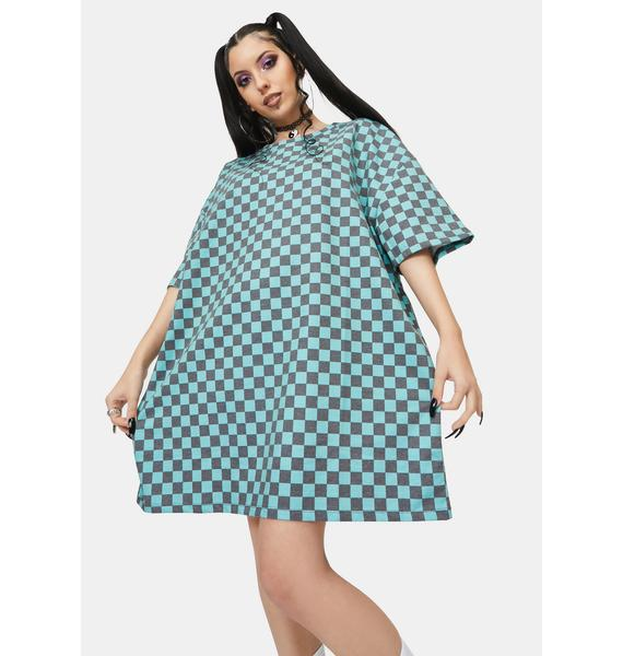 NEW GIRL ORDER Teal Checkerboard Tee