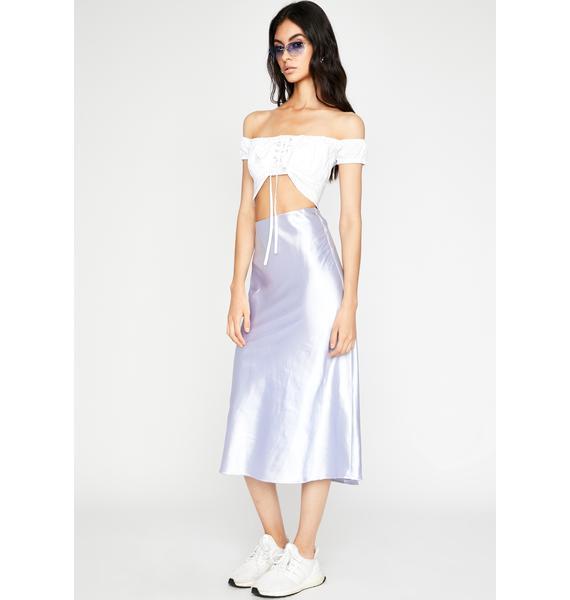 Slow Tide Satin Midi Skirt