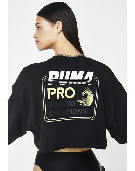 Onyx FENTY PUMA By Rihanna Cropped Crew Neck T-Shirt