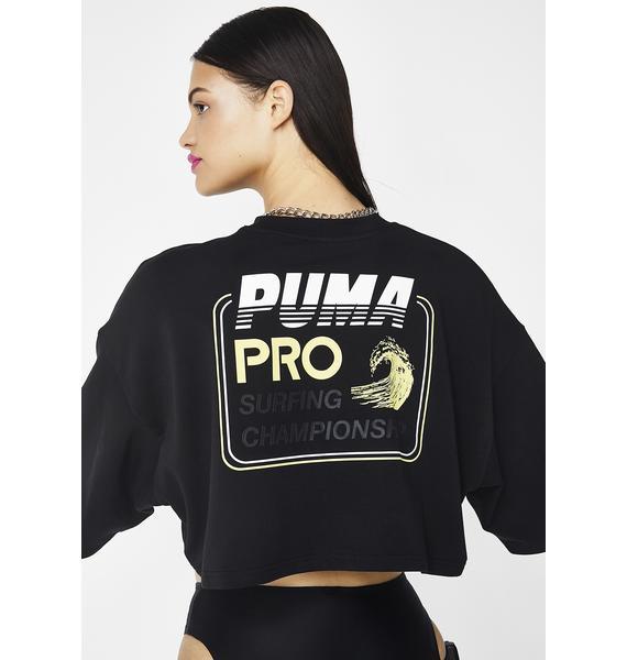 PUMA Onyx FENTY PUMA By Rihanna Cropped Crew Neck T-Shirt