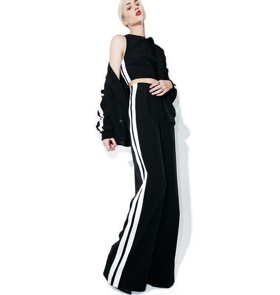 Kendall + Kylie Track-Stripe Crop Top
