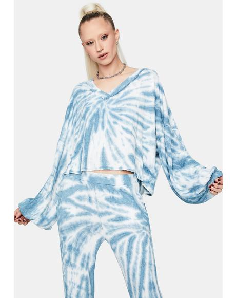 Sky New Fantasies Tie Dye Batwing Top