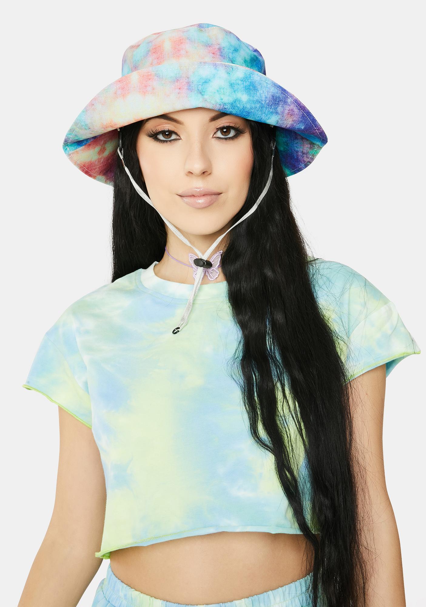 Tie Dye Bucket Hat With Chin Strap Blue Purple Dolls Kill