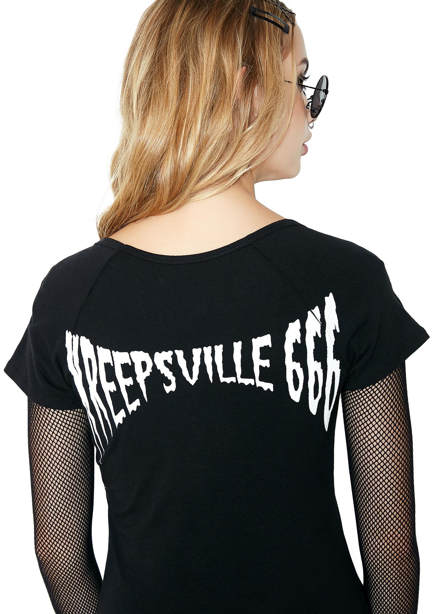 Kreepsville 666 Skeleton White Flare Dress