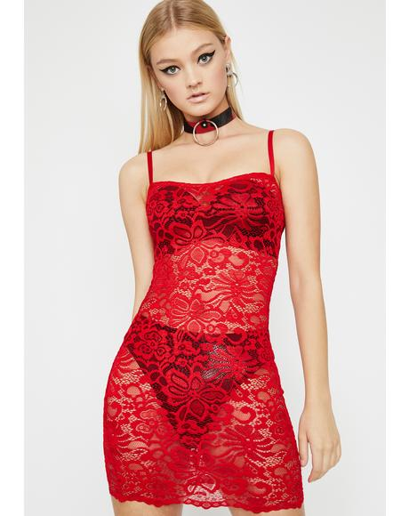 Cherry Hot Pursuit Lace Dress