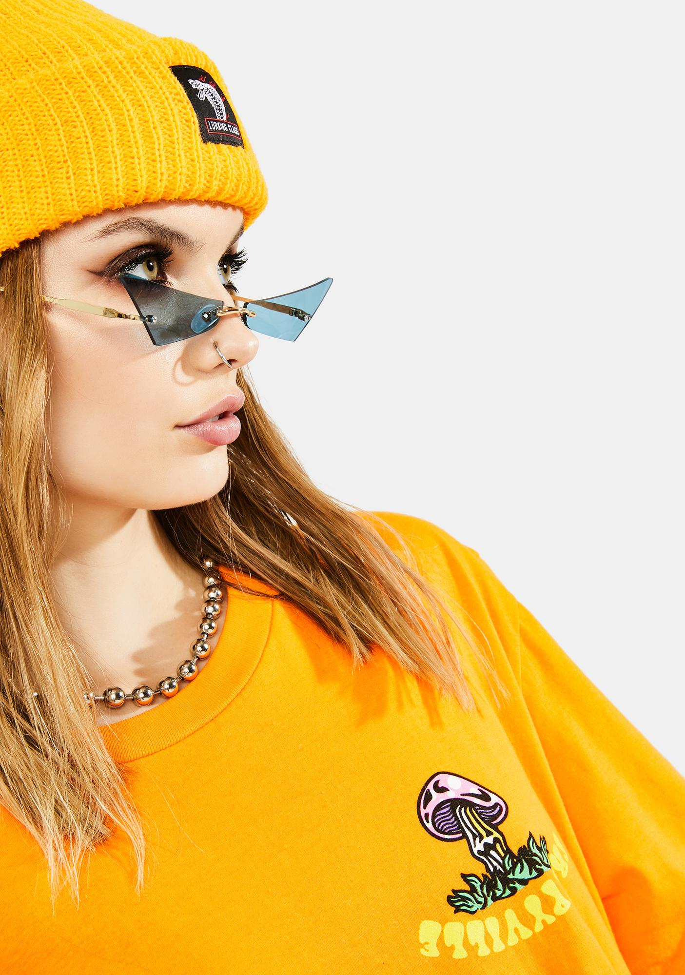 Azure Don't Mean A Thang Slim Cat Eye Sunglasses