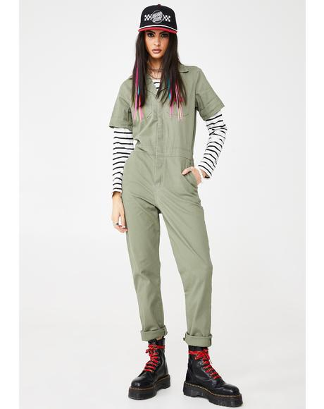 Button Front Twill Coveralls