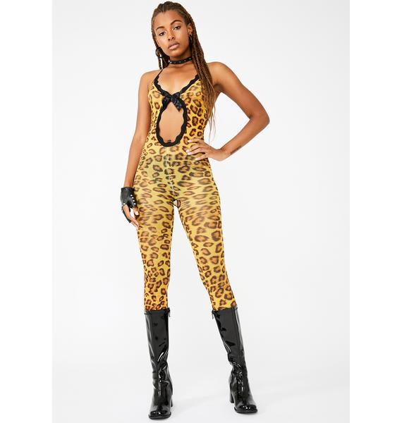 Cheetahs Never Win Sheer Bodystocking