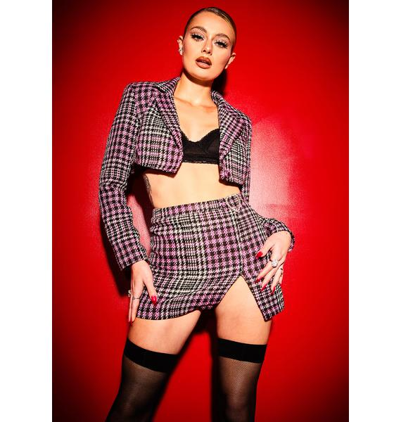 Poster Grl She's Been Mean Cropped Tweed Blazer