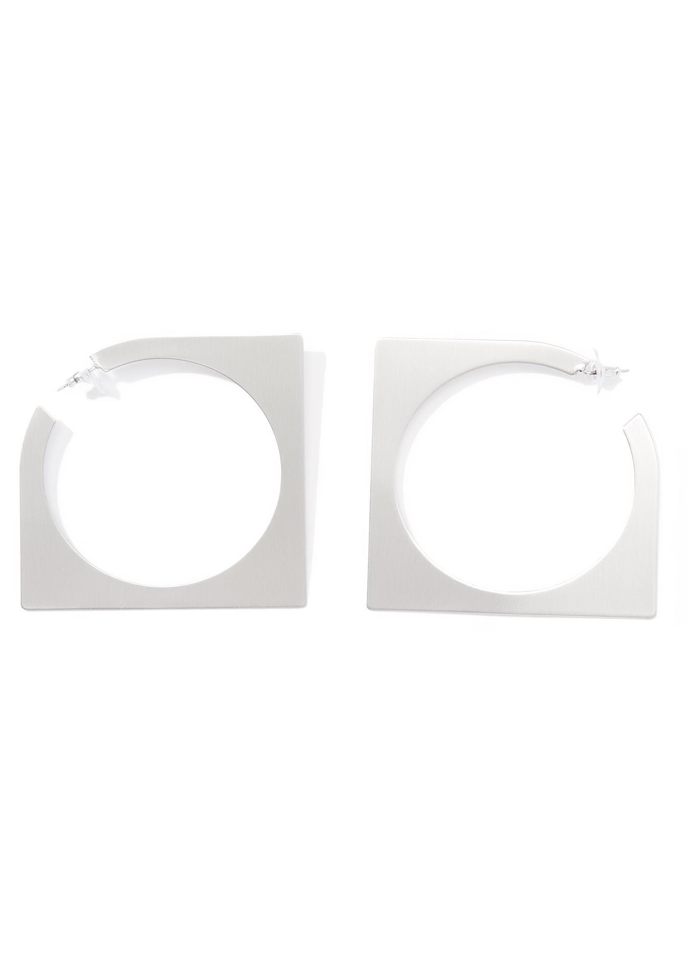 Abstract Square Hoop Earrings