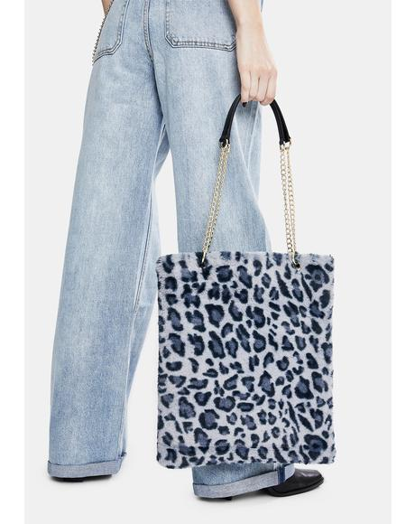 Blue Leopard Fluffy Bag