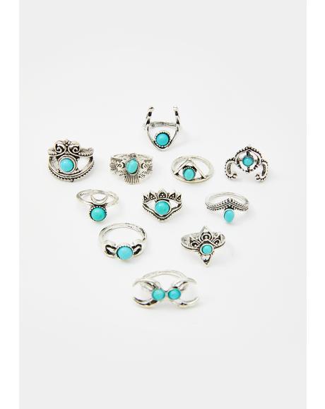 Mystic Symbols Ring Set