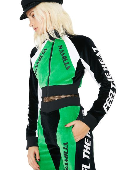 Velour Motocross Crop Jacket