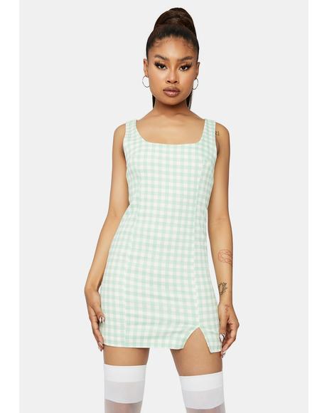 Mint Park Sunshine Gingham Mini Dress