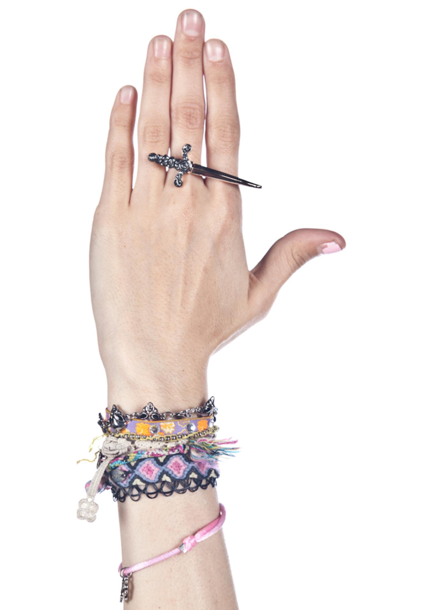Wildfox Couture Rose Gold Pleated Double Sword Ring