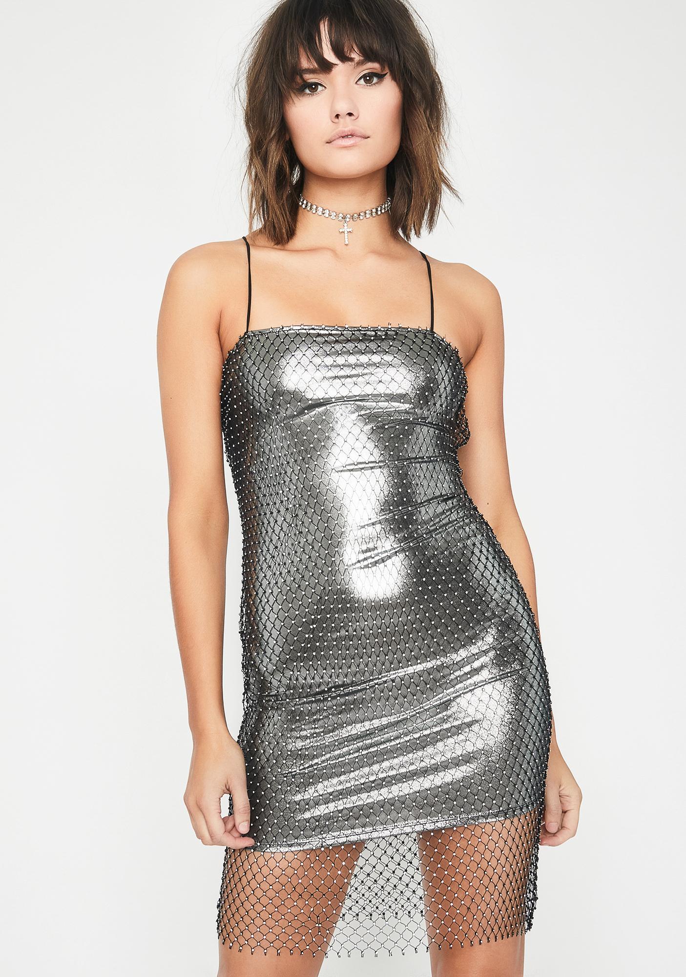 772602ad0b7 Rhinestone Overlay Liquid Mini Dress