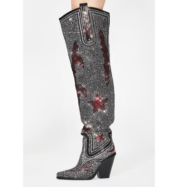 AZALEA WANG Jolee Rhinestone Cowboy Boots
