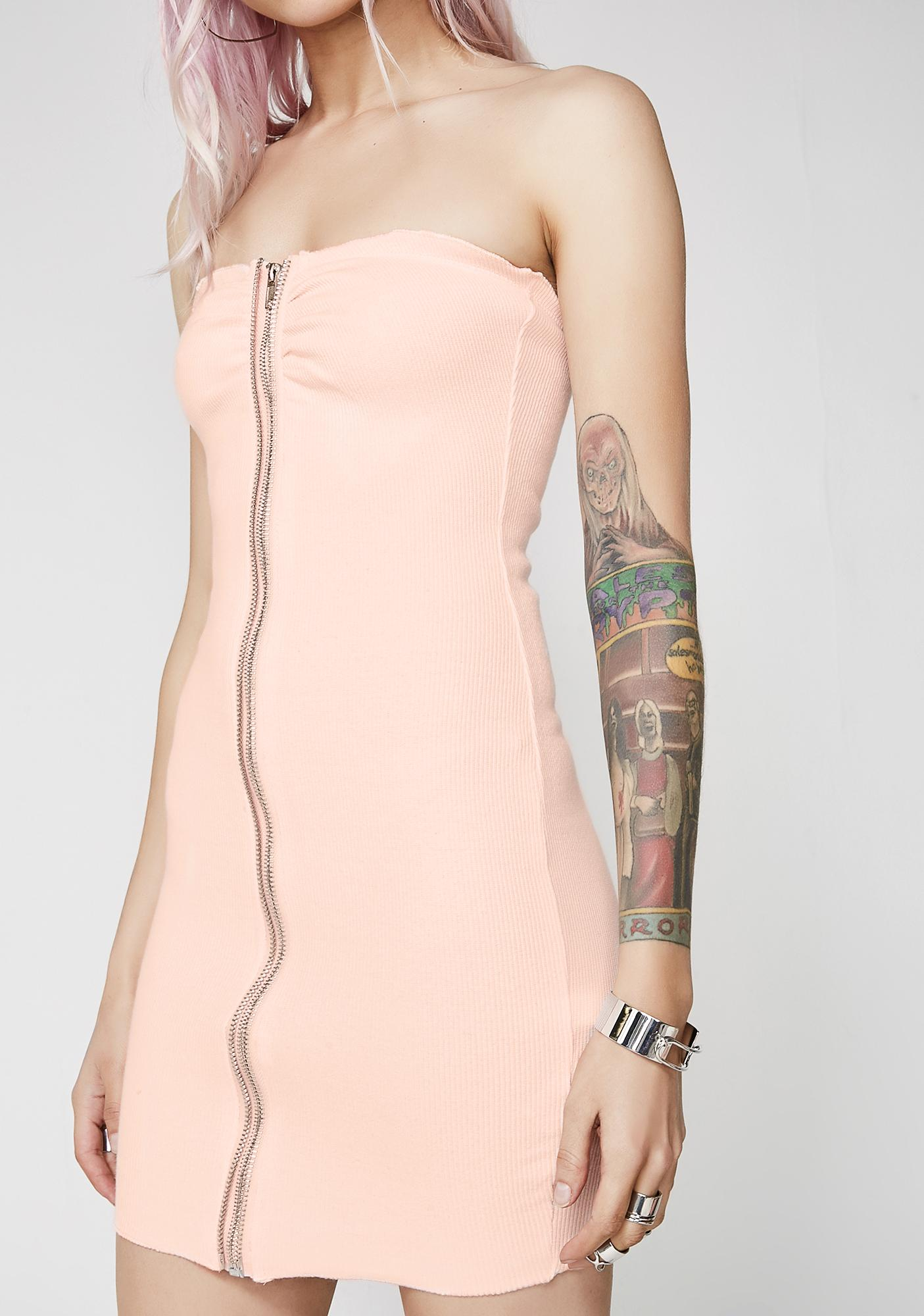 Let It Zip Strapless Dress