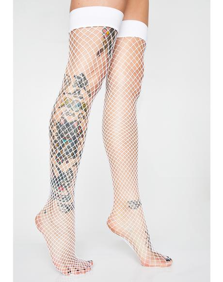 Popular Posse Fishnet Thigh Highs