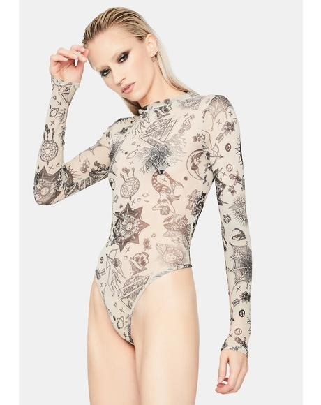 Riot Zone Tattoo Print Mesh Bodysuit