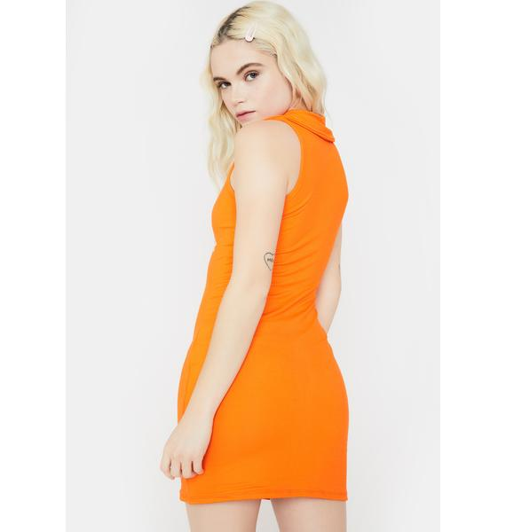 O Mighty Orange Butterfly Mini Dress
