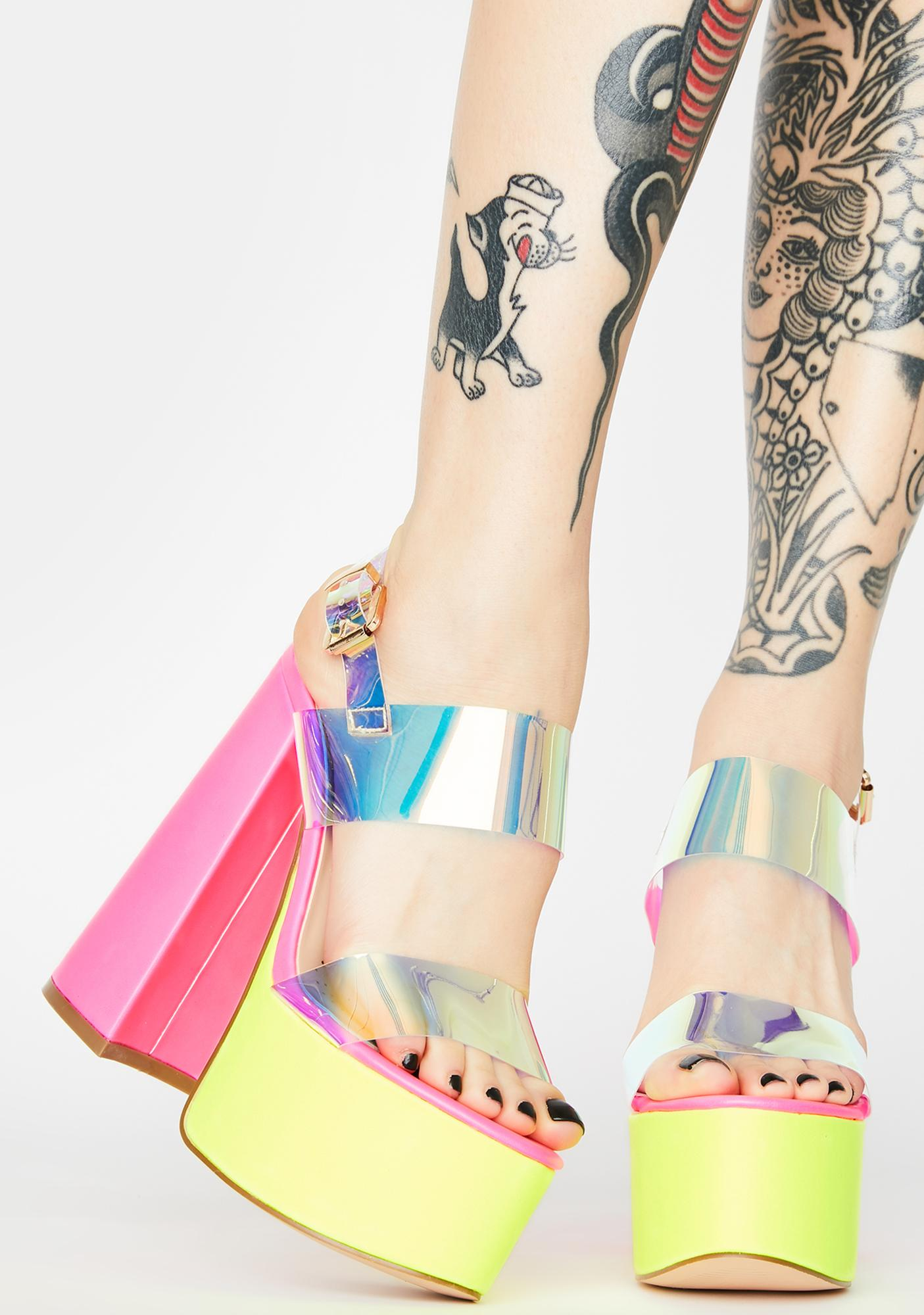 AZALEA WANG Support Iridescent Heels