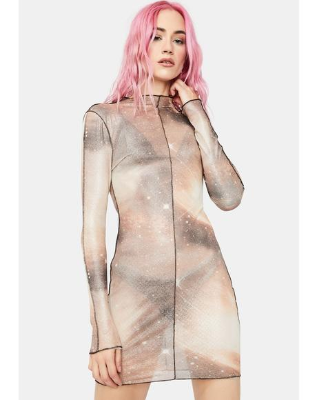 Among The Cosmos Mesh Dress