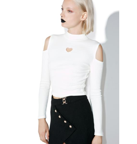 one spo Heart Cutout Long Sleeve Top