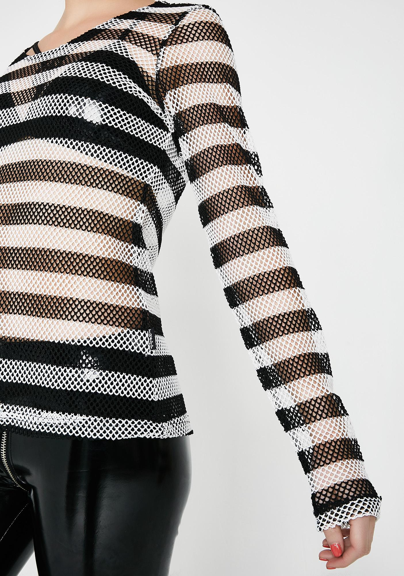 Tripp NYC Long Sleeve Striped Mesh Top