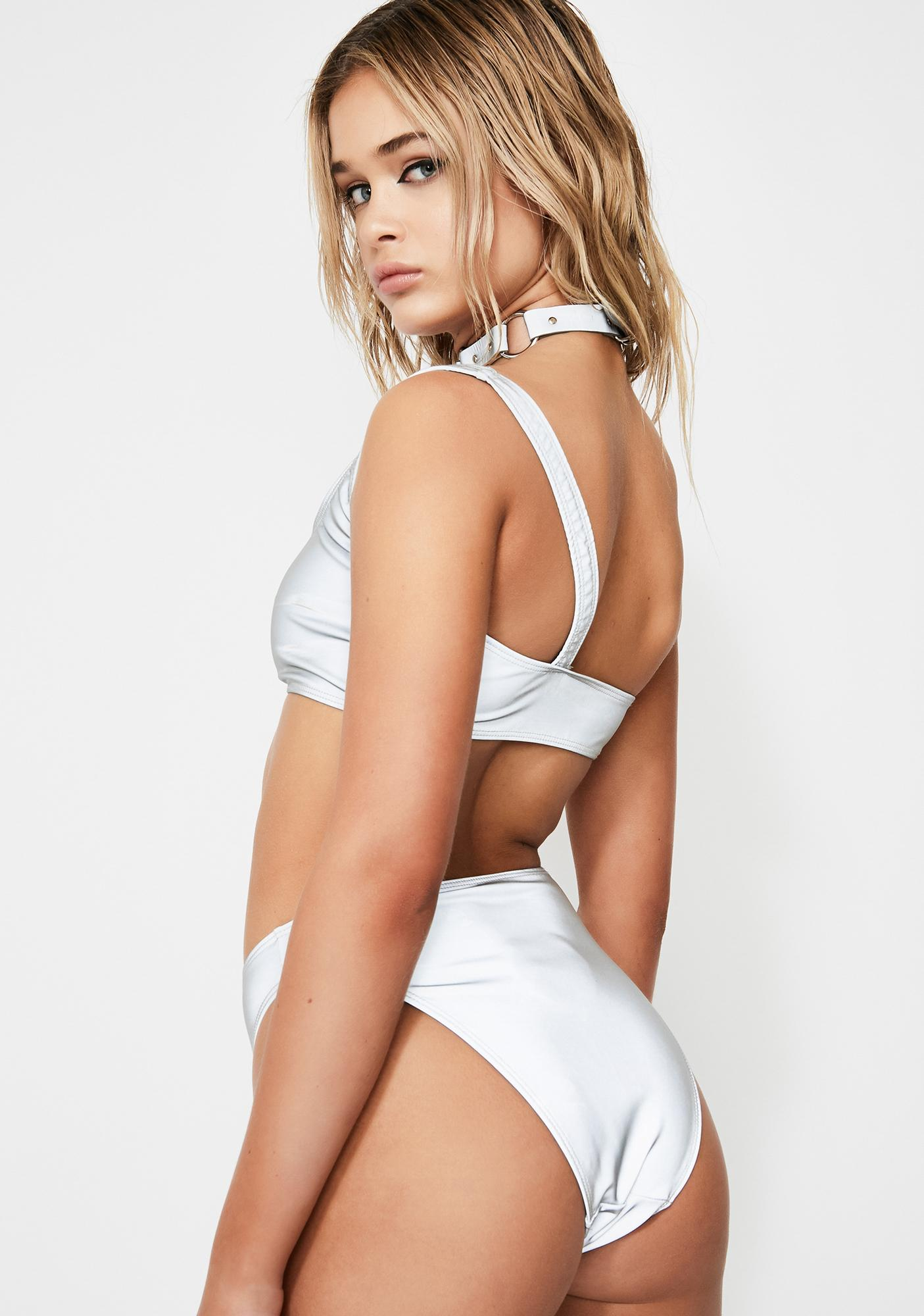 Jaded London Reflective Cut Out Swimsuit