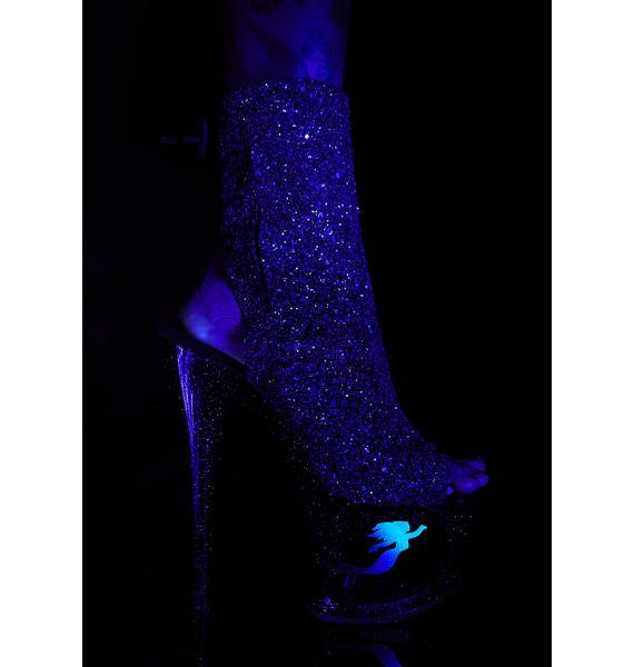 Pleaser UV Mermaid Platform Heels