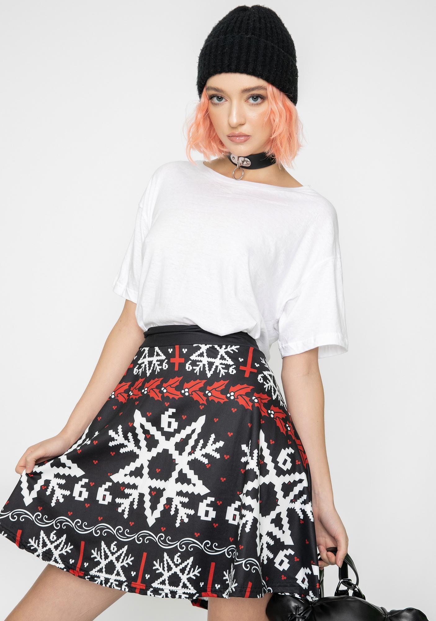Too Fast Pentagram Snowflake Skater Skirt
