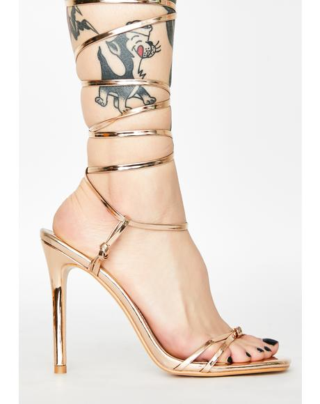 Rose Gold Sincere Lace Up Heels