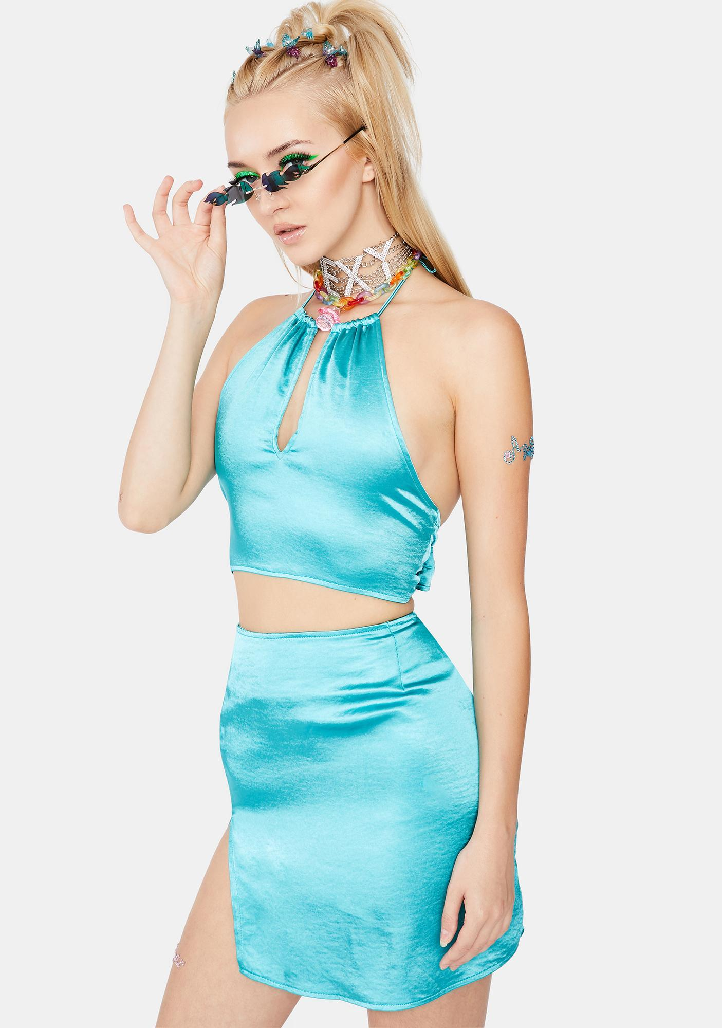 Motel Bright Azure Darina Satin Crop Top