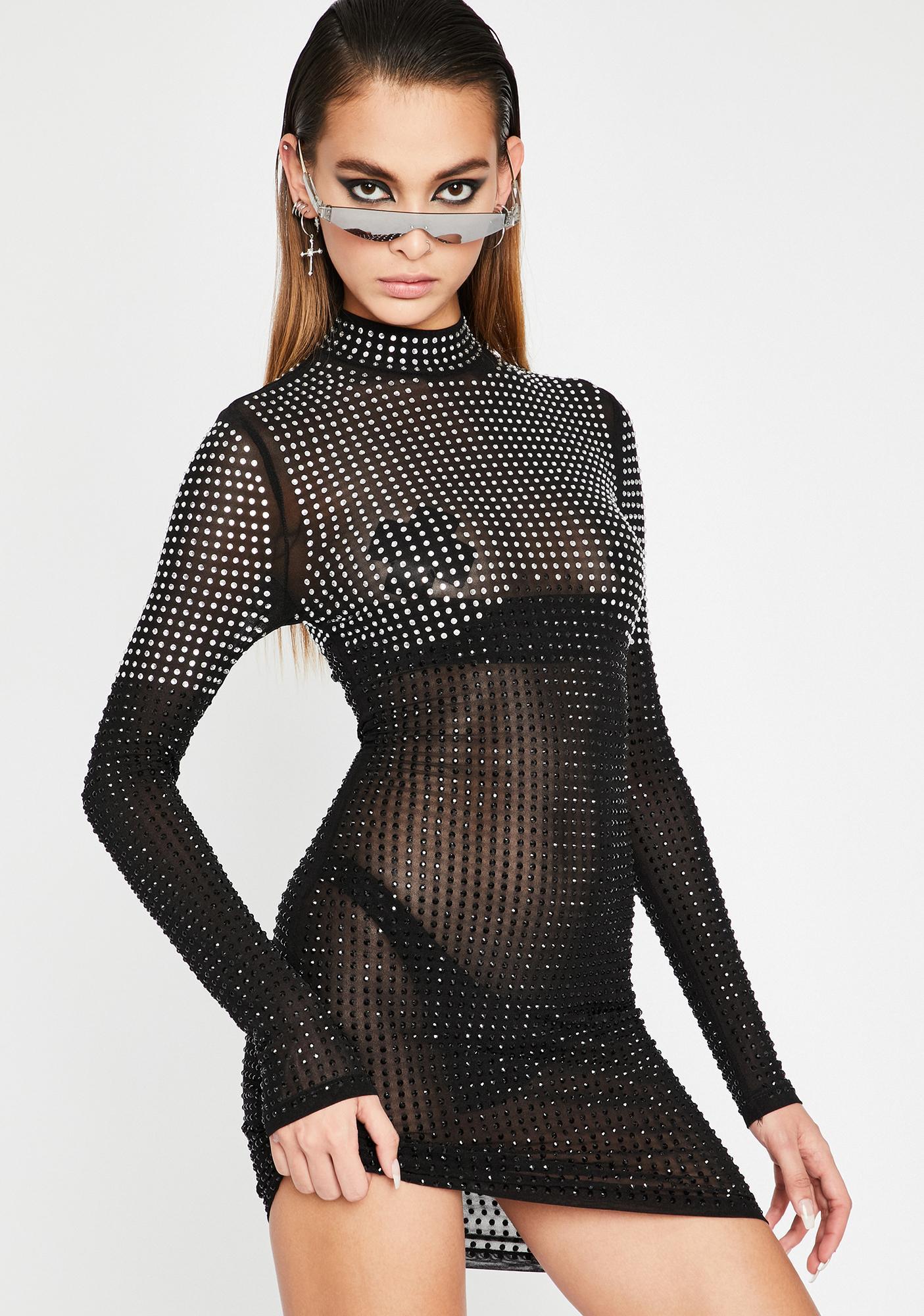Noir Prize Worthy Rhinestone Dress