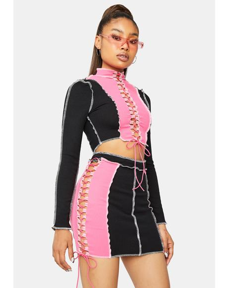 Heat Rises Lace Up Colorblock Skirt Set